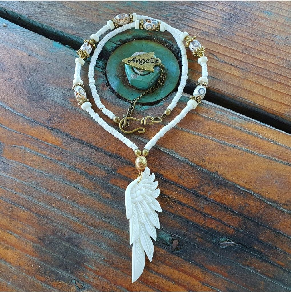 Angel feathered Wing necklace