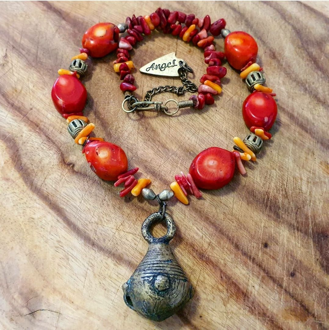 Antique Brass bell & Coral necklace