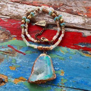 Aqua quartz necklace
