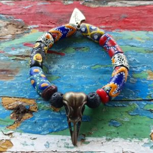 Brass bird skull African bead bracelet