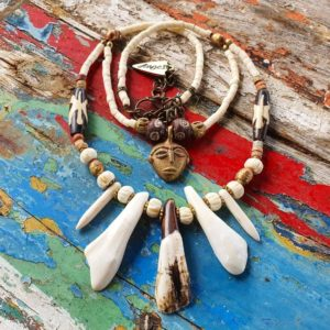 Buffalo tooth tribal necklace