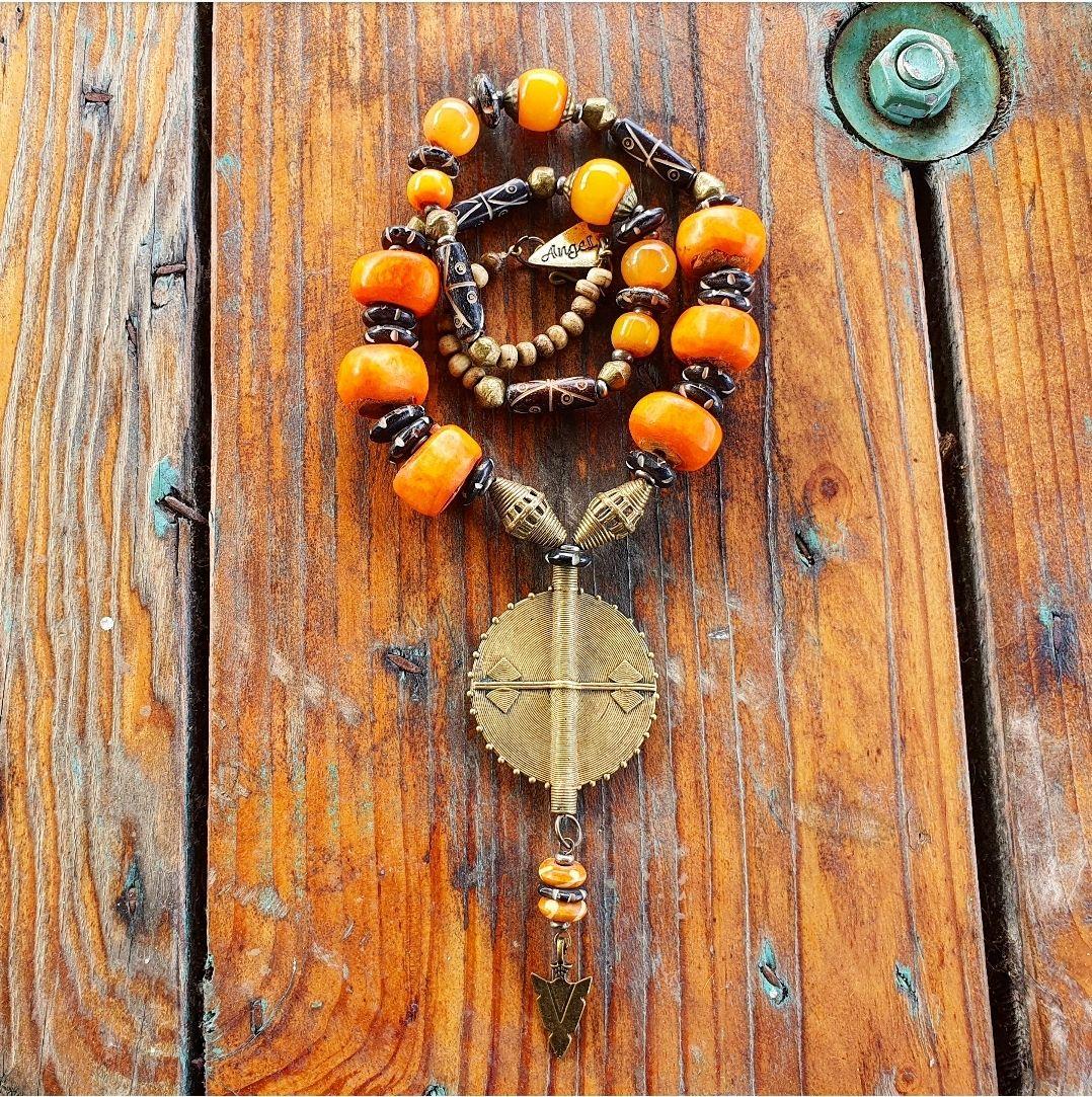 Heavy brass tribal necklace