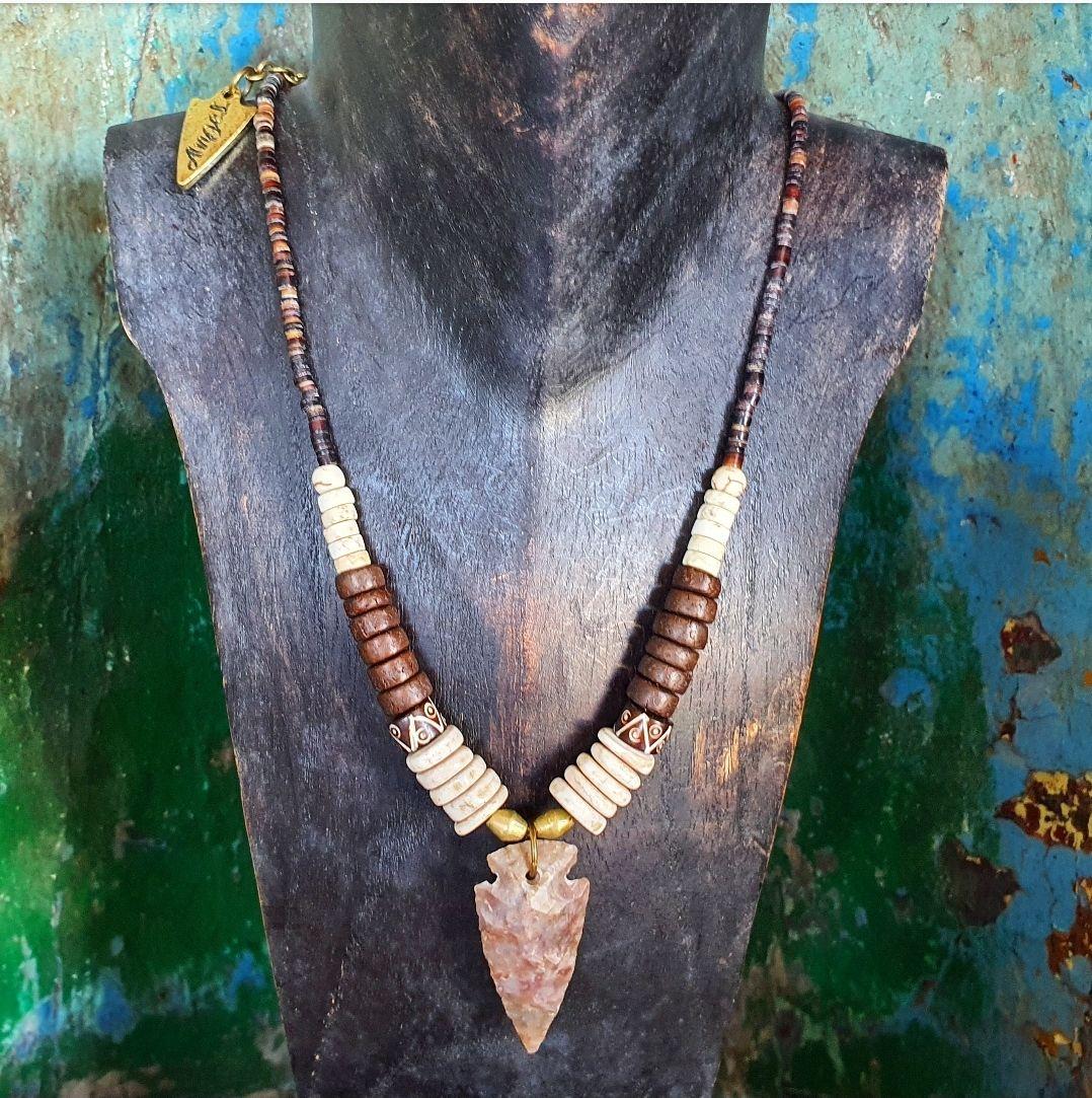 Jasper arrowhead necklace