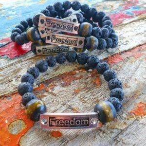 Lava stone mens bracelets X 4