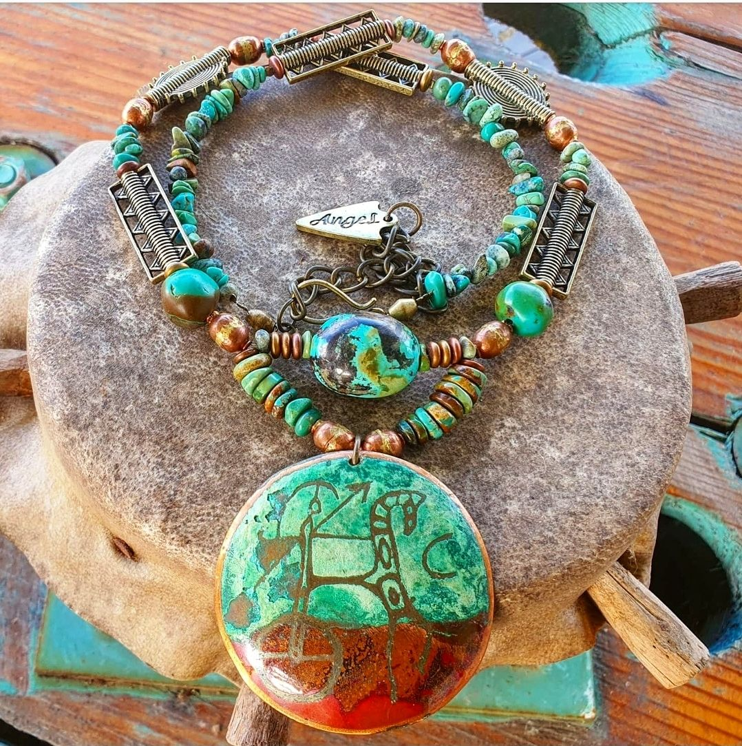 Rome medallion and turquoise necklace