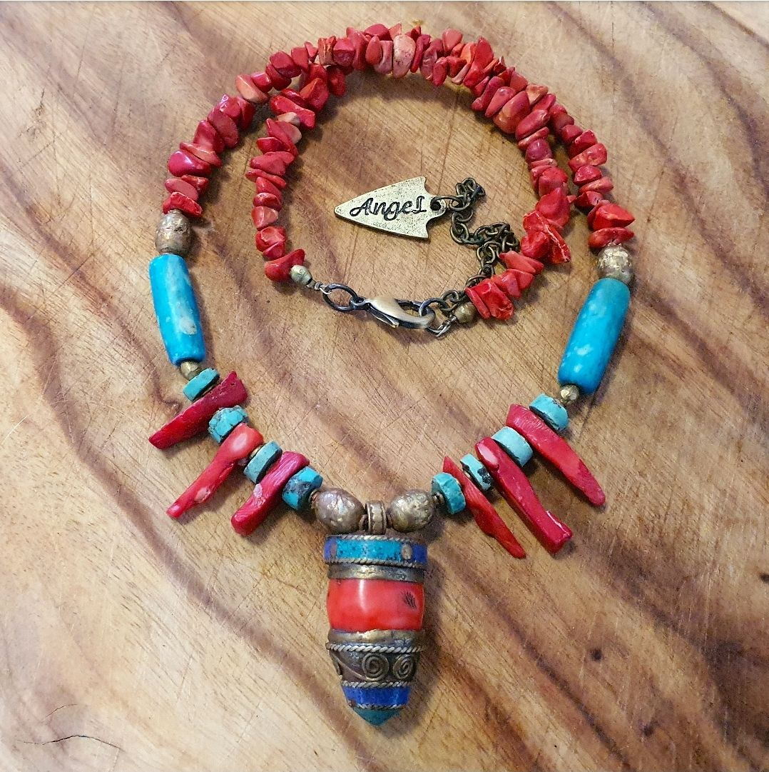 Tibetan coral & Turquoise necklace